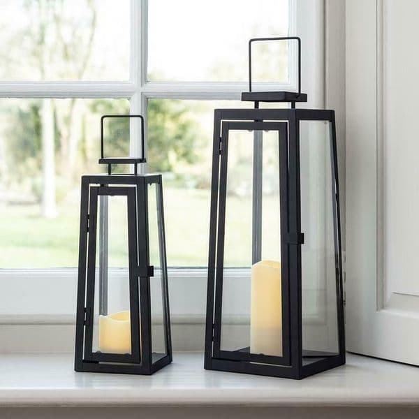 Christmas Matte Black Lantern Duo each with Ivory LED Candle